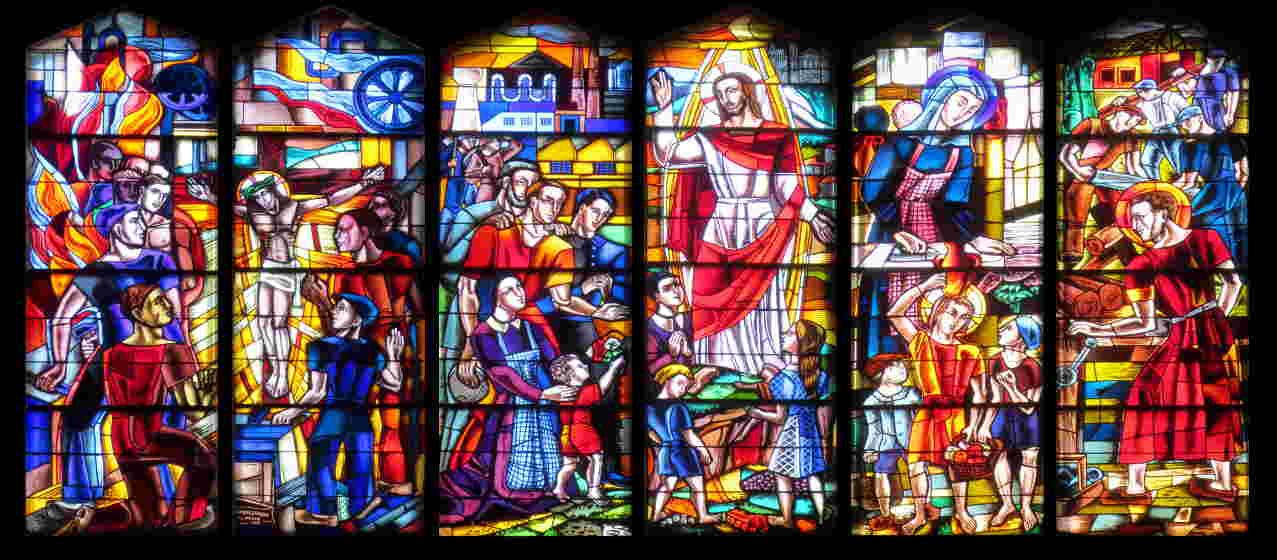 Les vitraux de l'église Sainte Jeanne d'Arc à Vénissieux Parilly de TG Hanssen