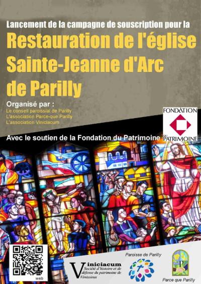 campagne de souscription pour la restauration de l'église de Parilly